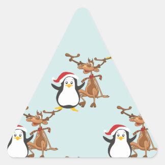 Pingüino reno penguin reindeer pegatina triangular