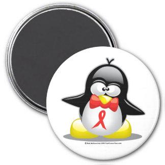 Pingüino rojo de la cinta imán redondo 7 cm
