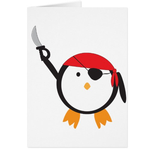 Pingüino rojo del pirata del pañuelo felicitacion