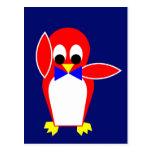 Pingüino - rojo tarjetas postales