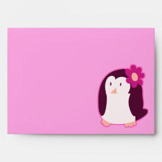 Pingüino rosado bonito