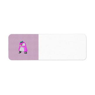 Pingüino rosado de la moda de Hip Hop de los lunar Etiquetas De Remite