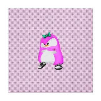 Pingüino rosado de la moda de Hip Hop de los lunar Impresión De Lienzo