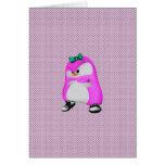 Pingüino rosado de la moda de Hip Hop de los lunar Tarjetón