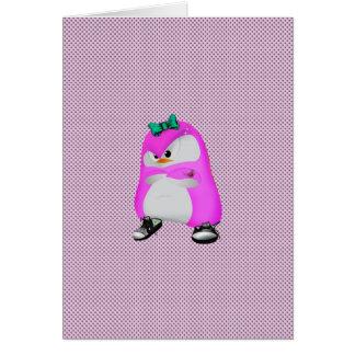 Pingüino rosado de la moda de Hip Hop de los lunar Tarjeta De Felicitación