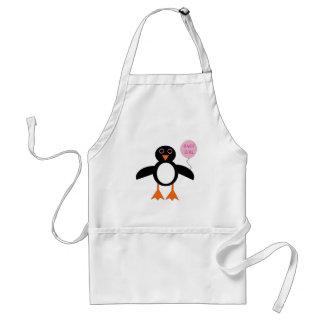 Pingüino rosado lindo de la niña que cocina el delantal