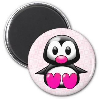 Pingüino rosado lindo imanes para frigoríficos