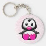 Pingüino rosado lindo llavero