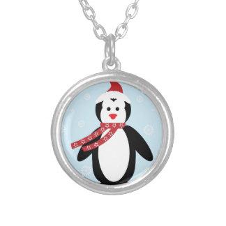 Pingüino simple del navidad collar plateado
