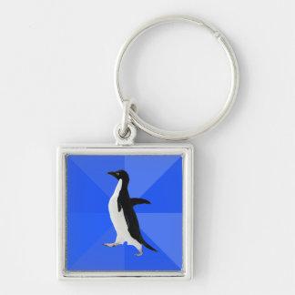 """Pingüino social torpe (""""personalizar"""" para añadir  llavero cuadrado plateado"""