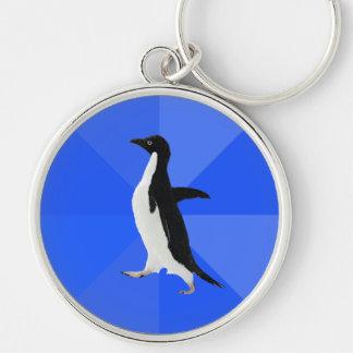 "Pingüino social torpe (""personalizar"" para añadir  llavero redondo plateado"