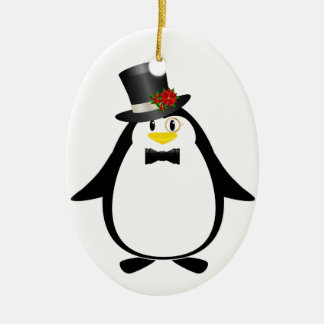 Pingüino sofisticado adorno navideño ovalado de cerámica