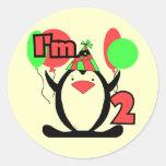 Pingüino soy dos camisetas y regalos etiquetas redondas