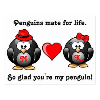 Pingüino tan alegre usted es mi compañero para el  tarjetas postales