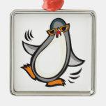 pingüino tonto del baile adorno de navidad