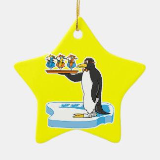 pingüino tonto del camarero adorno navideño de cerámica en forma de estrella