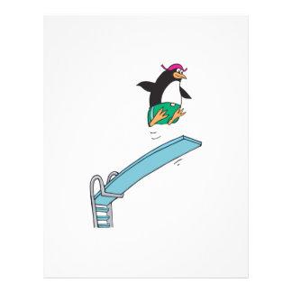 pingüino tonto lindo del salto flyer a todo color