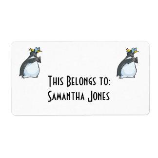 pingüino torpe en vidrios etiquetas de envío
