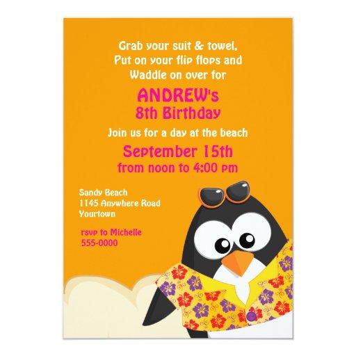 """Pingüino tropical en el cumpleaños de la playa invitación 5"""" x 7"""""""