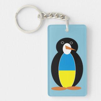 Pingüino ucraniano -- українськийпінгвін llavero rectangular acrílico a doble cara