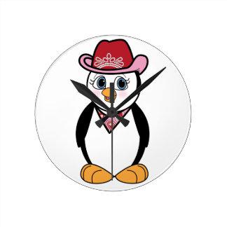 Pingüino: Vaquera Reloj Redondo Mediano