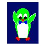 Pingüino - verde postales