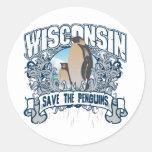Pingüino Wisconsin Pegatinas