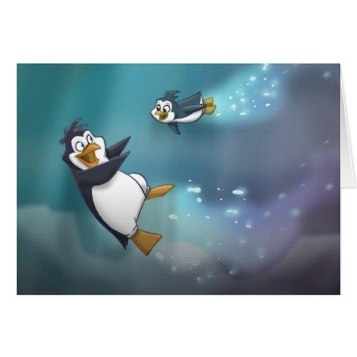 Pingüino y niño tarjetón
