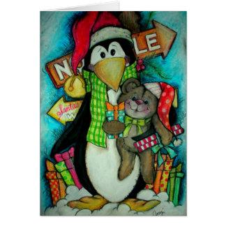 Pingüino y peluche PAL - diversión del día de fies Tarjeta