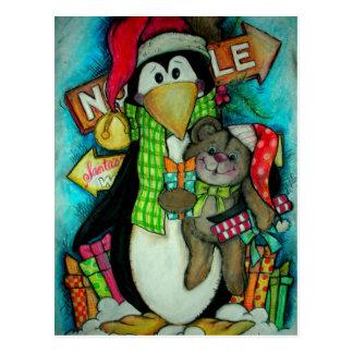 Pingüino y peluche PAL - diversión del día de fies Postal