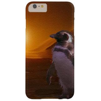 Pingüino y sol poniente antárticos lindos funda de iPhone 6 plus barely there