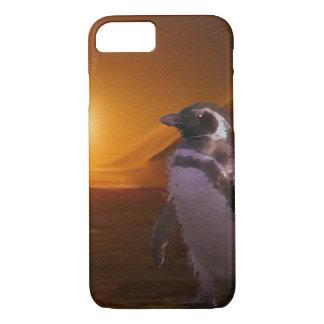 Pingüino y sol poniente antárticos lindos funda iPhone 7
