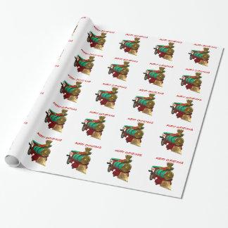 Pingüino y tren del navidad papel de regalo