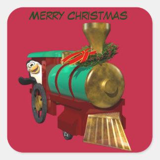 Pingüino y tren del navidad pegatina cuadrada