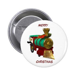 Pingüino y tren del navidad pin redondo de 2 pulgadas