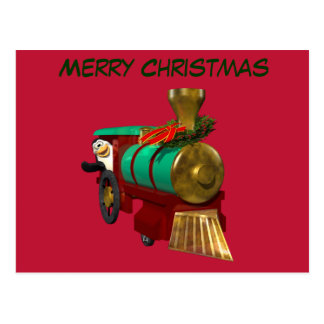 Pingüino y tren del navidad postal