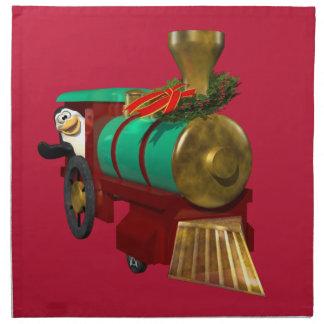 Pingüino y tren del navidad servilletas de papel