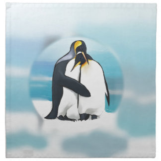 Pingüinos a través del iglú servilletas imprimidas