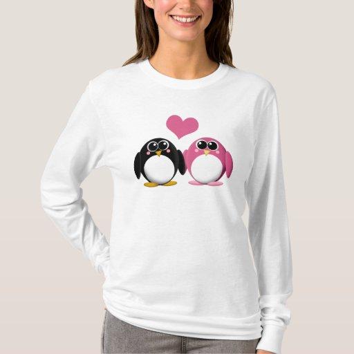 Pingüinos adorables en amor - camisa