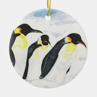 Pingüinos Adorno Navideño Redondo De Cerámica