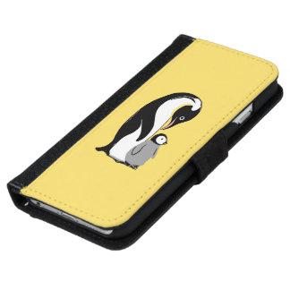 Pingüinos amarillos y caja negra de la cartera del funda cartera para iPhone 6