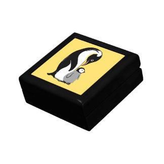 Pingüinos amarillos y caja negra del recuerdo joyero cuadrado pequeño