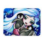 Pingüinos árticos del bebé de la sirena de Hannah  Imán Rectangular