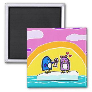 Pingüinos - azul y risitas - iceberg - imán
