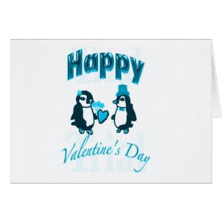 Pingüinos azules claros tarjeta de felicitación