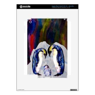 Pingüinos bajo aurora boreal pegatinas skins para iPad 3