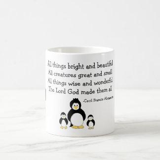 Pingüinos con cita inspirada taza básica blanca