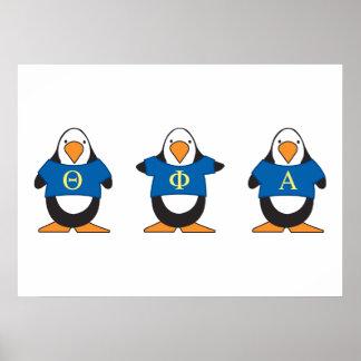 Pingüinos con el camisetas póster