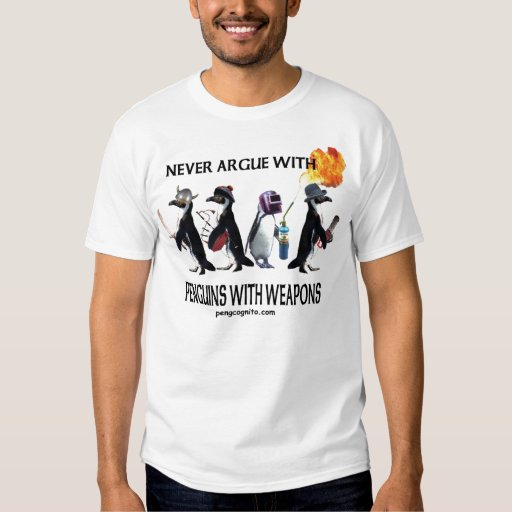 Pingüinos con la camiseta de las armas camisas