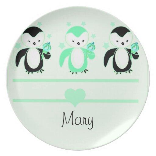 Pingüinos con la placa del helado y la menta del n platos para fiestas